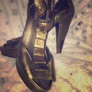 Bronze Ruffled Heels